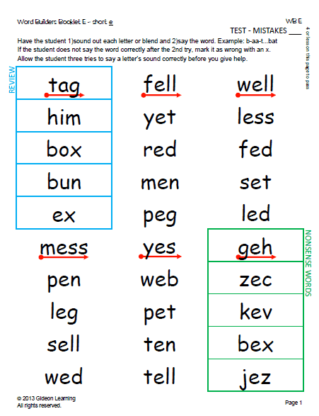 Phonics - Short Vowels