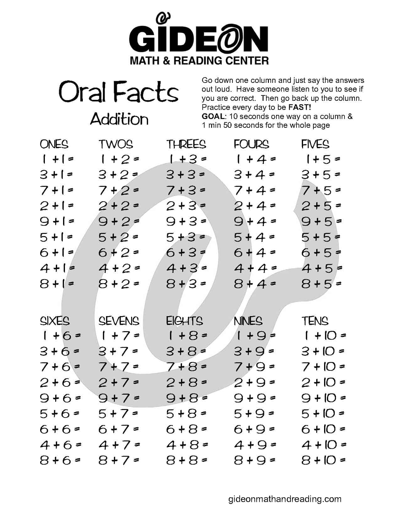 Addition facts to 10 free worksheets
