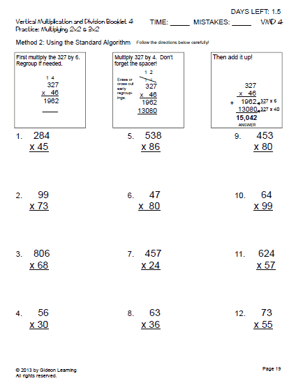 Vertical Multiplication 2x2 and 3x2